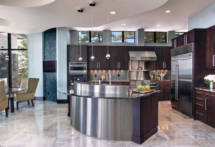 Kitchen With Stainles Steel Curved Island #kitchen #cabinets #metal #steel #decorhomeideas