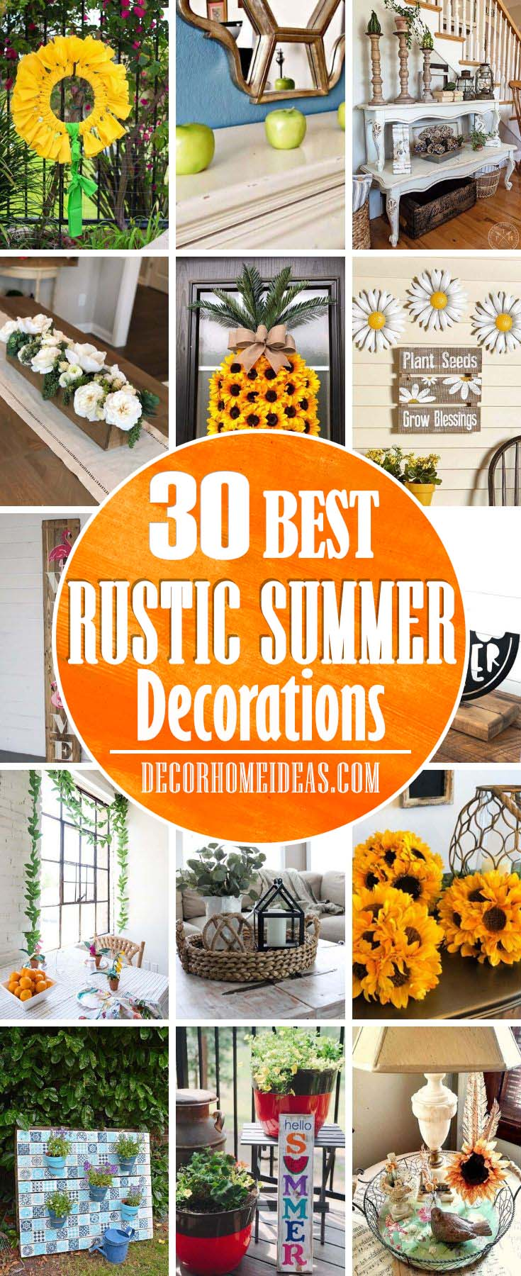 Rustic Summer Decorations. Create summer mood in your home with these creative and colorful decorations and ideas. #summer #decor #rustic #decorhomeideas