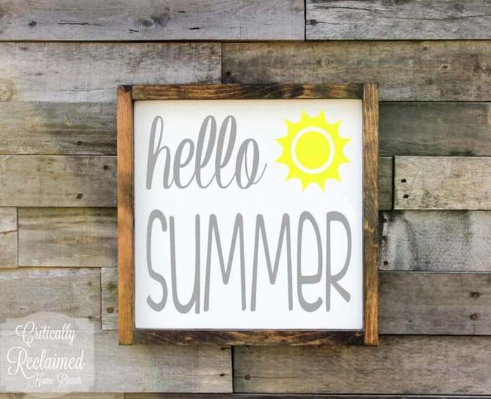Rustic Wood Framed Hello Summer Art #diy #rustic #summer #decorations #decorhomeideas