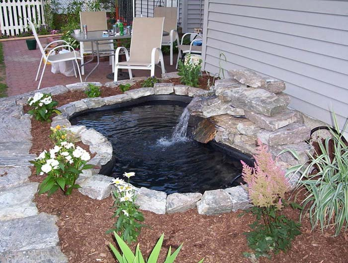 Simple Pre-Formed Pond with Waterfall #pond #diy #garden #waterfeature #decorhomeideas