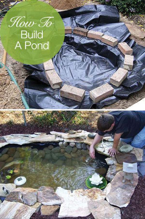 Small Free-Form DIY Backyard Pond #pond #diy #garden #waterfeature #decorhomeideas