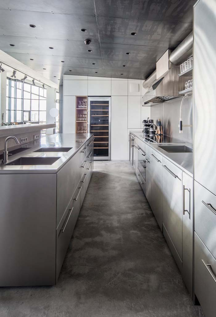 Stainless Steel Surfaces To Reflect Natural Light #kitchen #cabinets #metal #steel #decorhomeideas