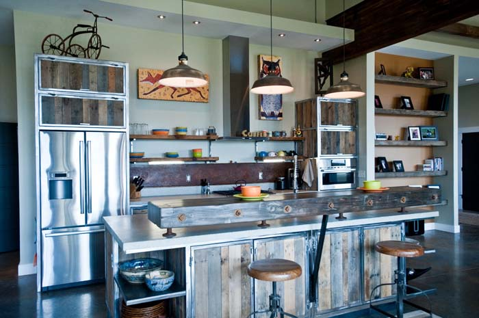 Custom-made Kitchen With Steel And Wood #kitchen #cabinets #metal #steel #decorhomeideas