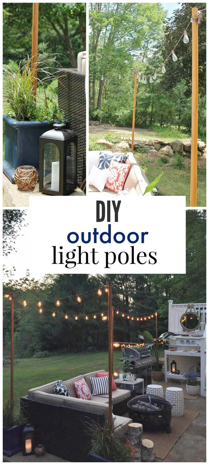 Stringing Night Lights Outdoor Poles #diy #project #backyard #garden #decorhomeideas