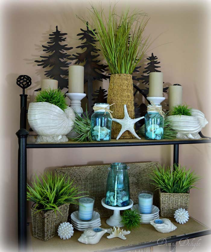 Summer by the Seaside Shelf Decor #diy #rustic #summer #decorations #decorhomeideas
