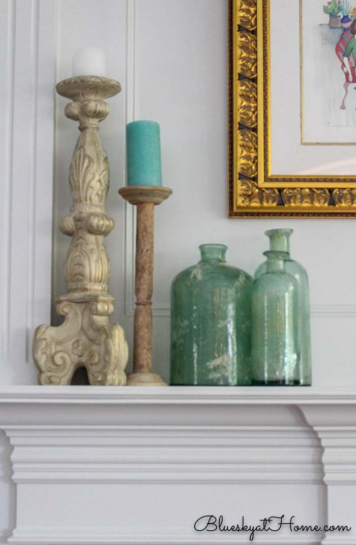Summer Sea Glass Inspired Mantle #diy #rustic #summer #decorations #decorhomeideas