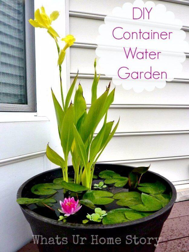 Tiny DIY Container Water Garden #pond #diy #garden #waterfeature #decorhomeideas