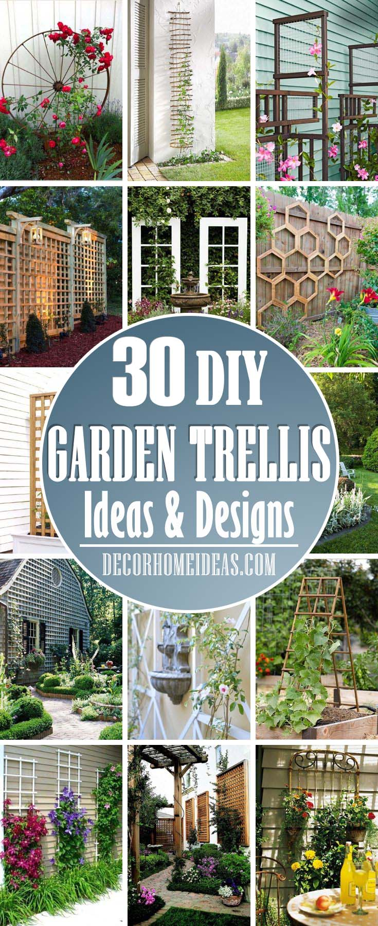 Best DIY Garden Trellis Ideas. How to make a beautiful garden trellis for your plants and flowers and spruce up your backyard, wall or fence. #trellis #diy #garden #decorhomeideas