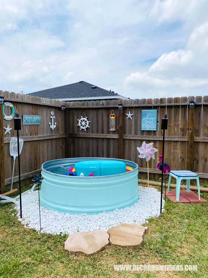 How To DIY Stock Tank Pool. Are you dreaming of soaking in a pool all day long during the hot summer days? We have the perfect summer project for you - DIY Stock Tank Pool in pristine turquoise color. #diy #pool #tank #decorhomeideas