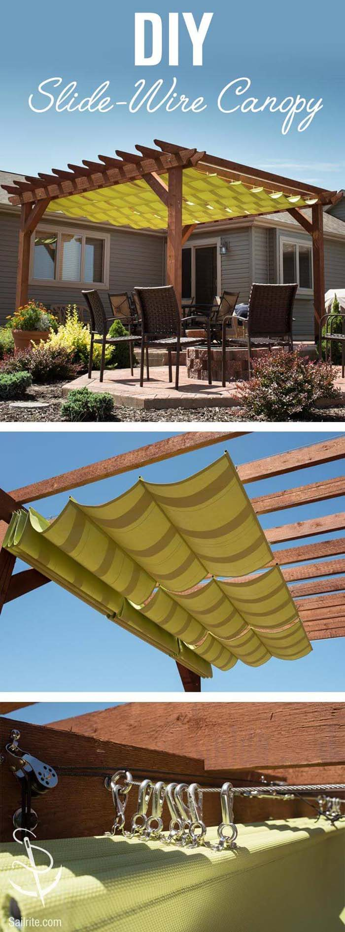 Tuscan Shelter Slide-Wire Canopy #diy #project #backyard #garden #decorhomeideas