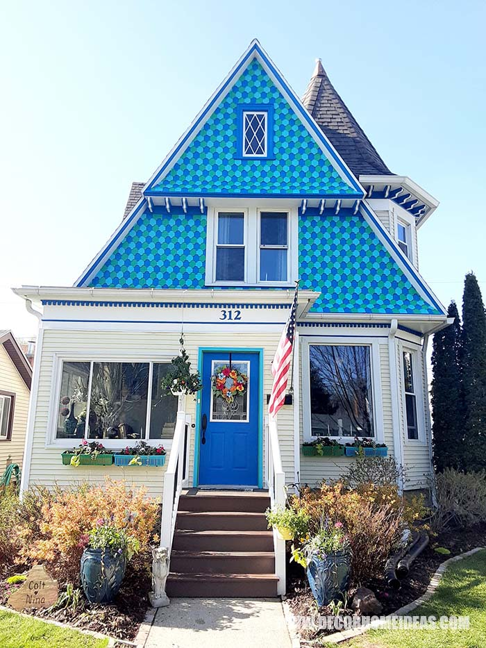 Victorian House In Blue Turquoise And Green.