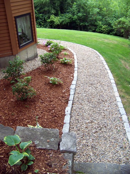 Walkway Landscape Gravel Stone Edging Design Ideas