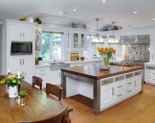 Kitchen Island From Steel Wood And White Lack #kitchen #cabinets #metal #steel #decorhomeideas