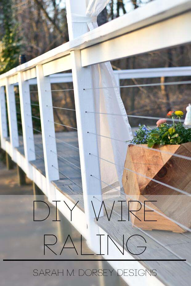 Yard Yacht DIY Wire Railing #diy #project #backyard #garden #decorhomeideas