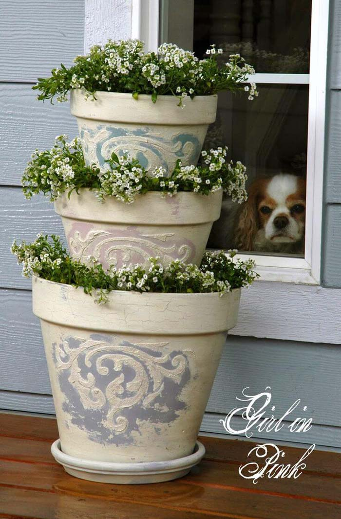 3-Tiered Tower of Flowers Decoration #diy #flowerpot #garden #flower #decorhomeideas