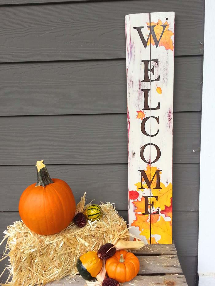 Autumn Leaf Welcome Sign #diy #porch #sign #decorhomeideas