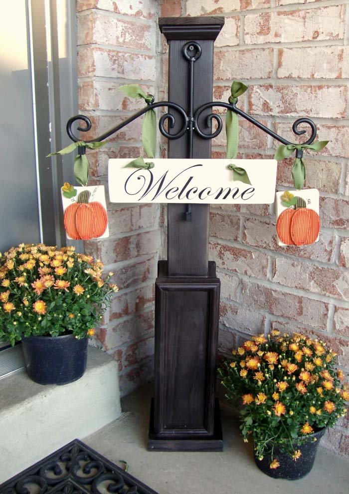 Autumn Welcome Sign Display #diy #porch #sign #decorhomeideas