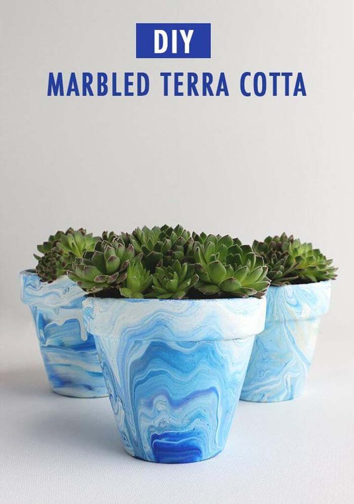Awesome Marbled Look Terra Cotta Makeover #diy #flowerpot #garden #flower #decorhomeideas