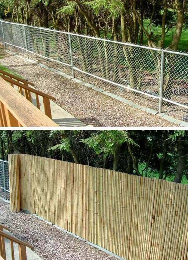 Bamboo Camouflage Cover for Chainlink Fence #diy #fence #backyard #decorhomeideas