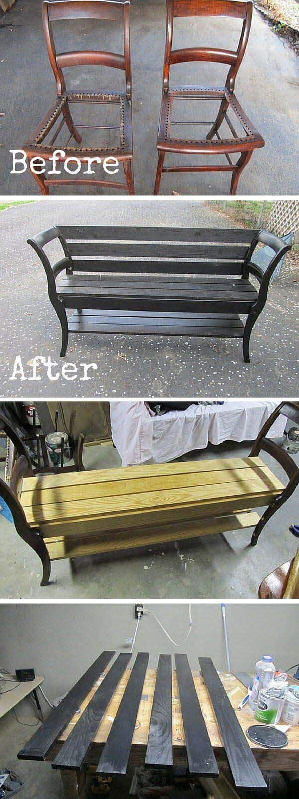 Bench Created Using Repurposed Old Chairs #chair #diy #repurposed #decorhomeideas