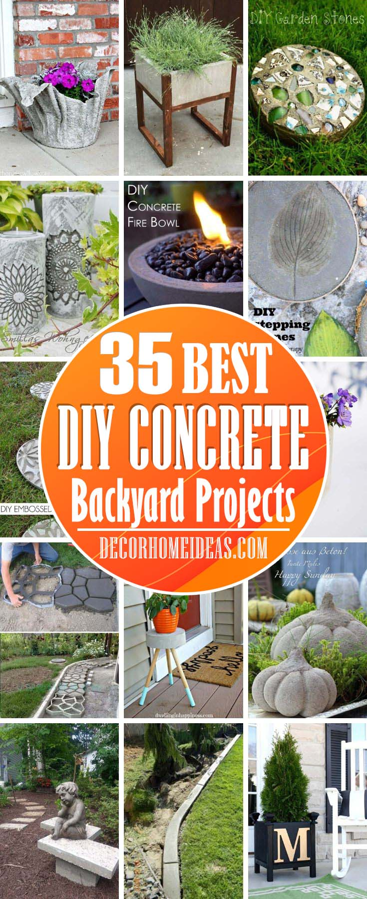 Best DIY Concrete Backyard Projects. Planters, fire pits, garden edging and decorations made from concrete to spruce up your garden or backyard. #diy #concrete #garden #decorhomeideas