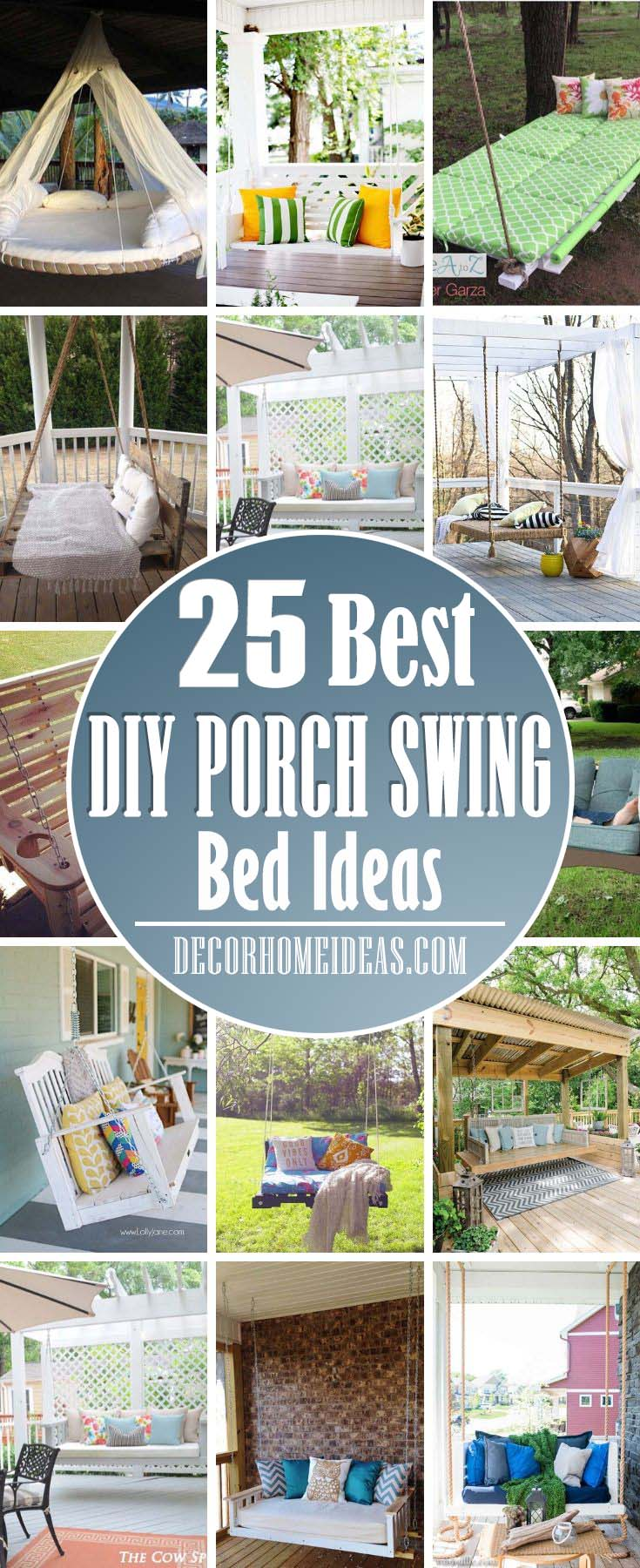 Best DIY Porch Swing Bed Ideas. These DIY porch swing bed ideas can help you to transform your outdoor space into a relaxing retreat where you can spend some more time. #porch #swing #bed #decorhomeideas