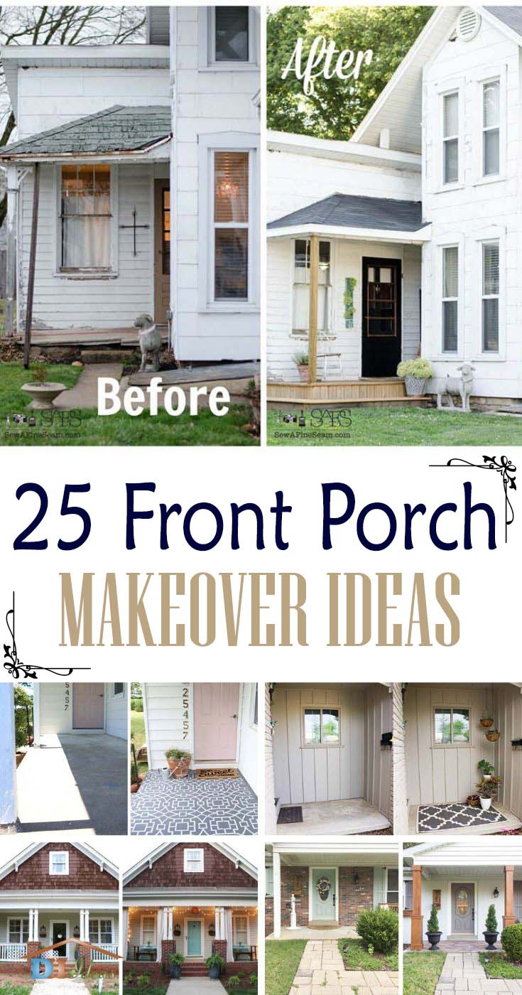 Best Front Porch Makeover Ideas. Are you considering a major front porch makeover? We have selected the most creative and original makeovers that are easy to do. #diy #makeover #porch #decorhomeideas