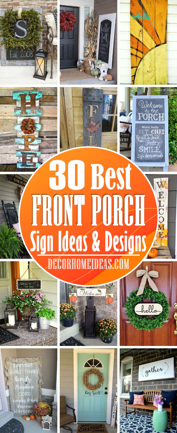 Best Front Porch Sign Ideas. DIY front porch sign ideas to make your home more welcoming and inviting. Budget-friendly projects that you can do in no time. #diy #sign #porch #decorhomeideas