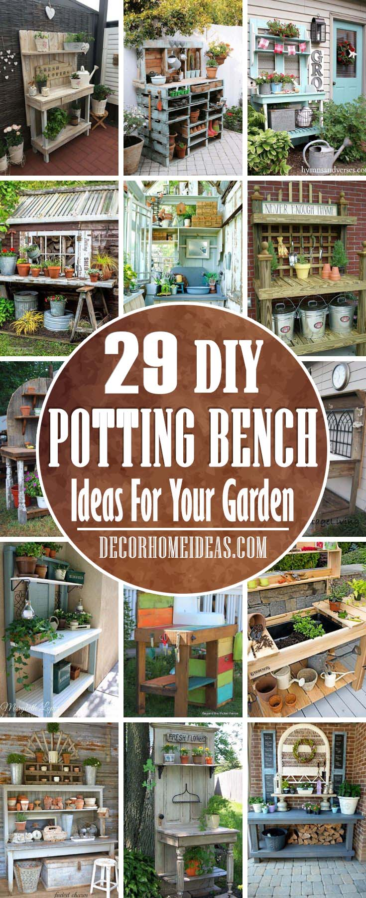 Best Potting Bench Ideas. There are number of advantages of having your own potting bench - no more tired arms, legs and back and potting activity will be much more organized. #pottingbench #garden #decorhomeideas