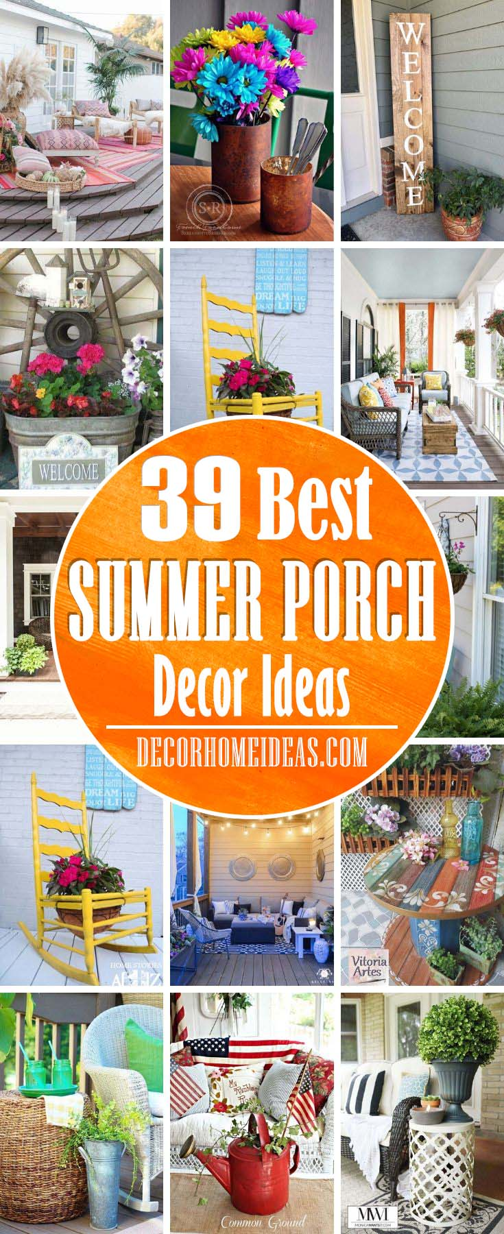 Best Summer Porch Decor Ideas. There is no better place to sit and relax as your front porch. These ideas can help you to make your porch an inviting and welcoming area! #porch #summer #decorhomeideas