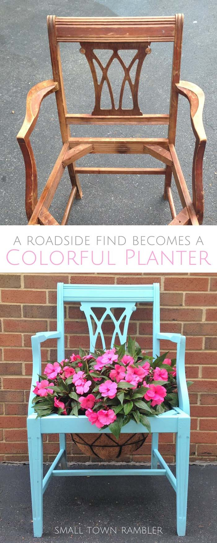 Brightly Painted Planter for Your Garden #chair #diy #repurposed #decorhomeideas