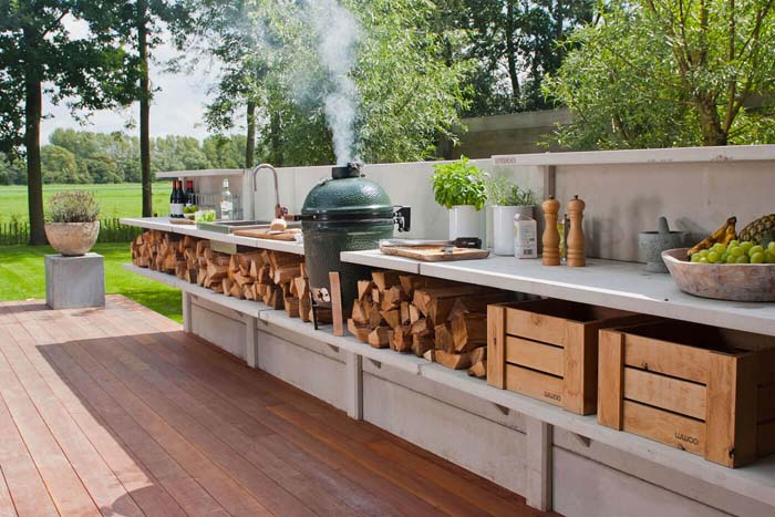 Built In Deck Countertop In Outdoor Kitchen #outdoorkitchen #garden #ktichen #decorhomeideas