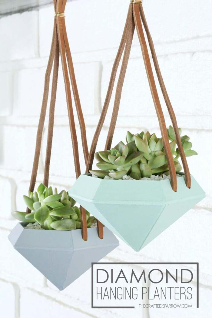 Ceramic Daimond Shaped Hanging Planters #diy #planter #flower #hanging #garden #decorhomeideas