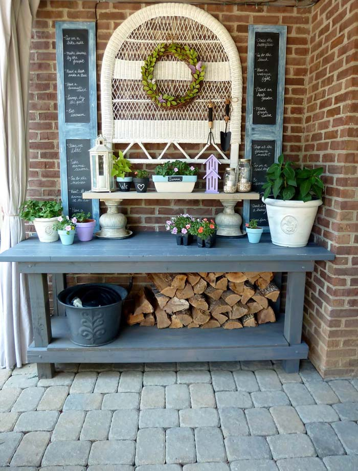 Chalkboard Accents, Firewood, and Other Whimsies #diy #potting #bench #garden #decorhomeideas
