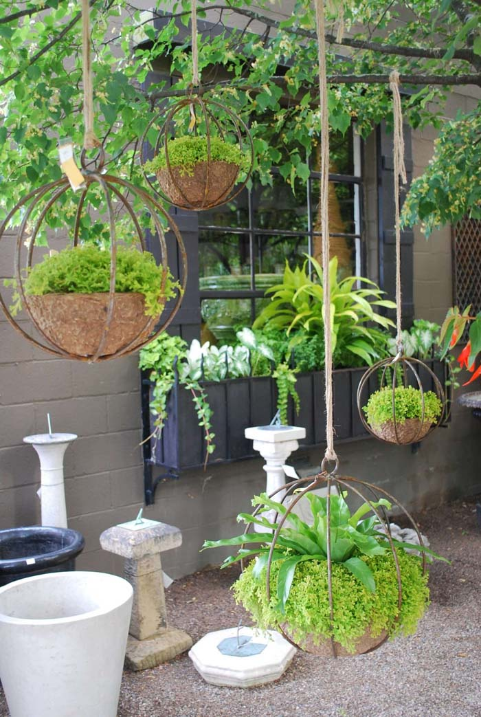 Chic Industrial Globe-Shaped Iron Hanging Planters #diy #planter #flower #hanging #garden #decorhomeideas