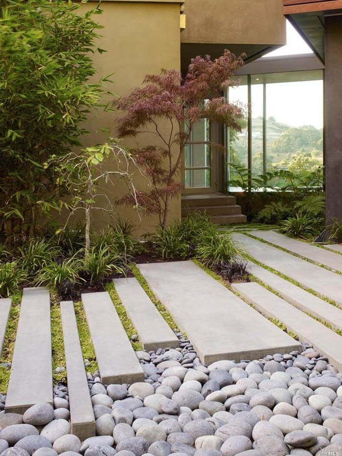 Clean Modern Slabs Contrasted With Natural Stone #diy #pathway #walkway #garden #decorhomeideas