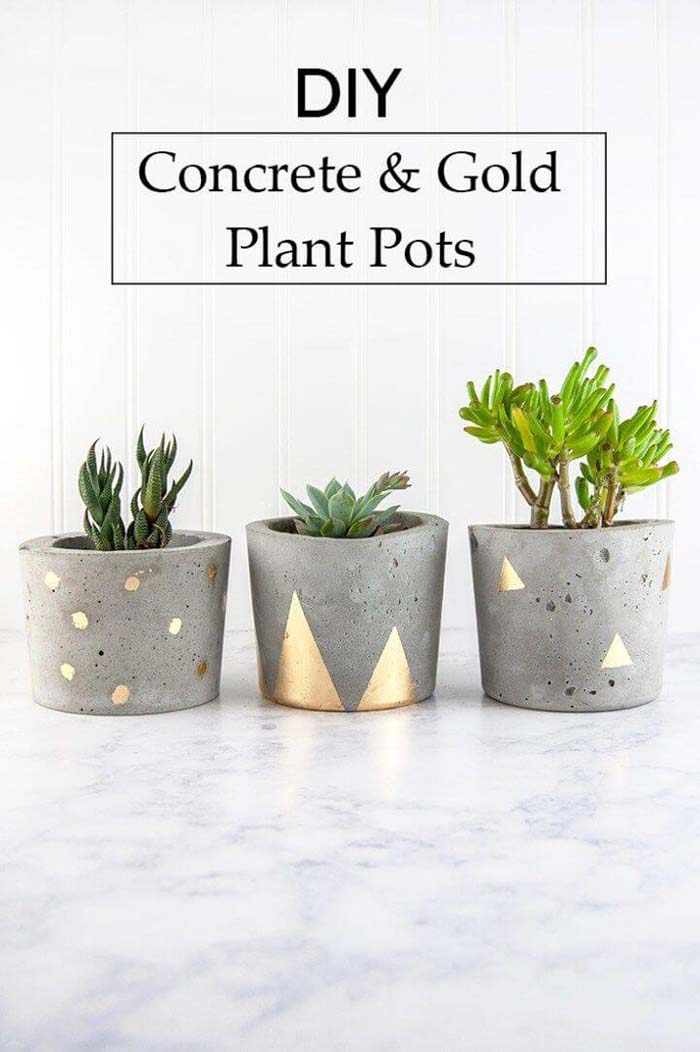 Concrete Pots with Metallic Accents #diy #flowerpot #garden #flower #decorhomeideas