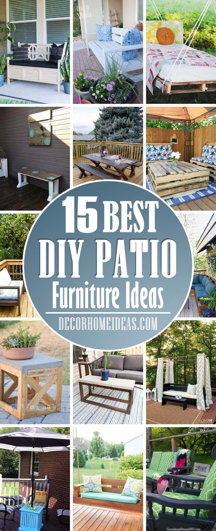 Creative DIY Patio Furniture Ideas. These budget-friendly DIY patio furniture ideas will drastically change the look of your outdoor area and won't cost you a fortune. #diy #patio #furniture #decorhomeideas