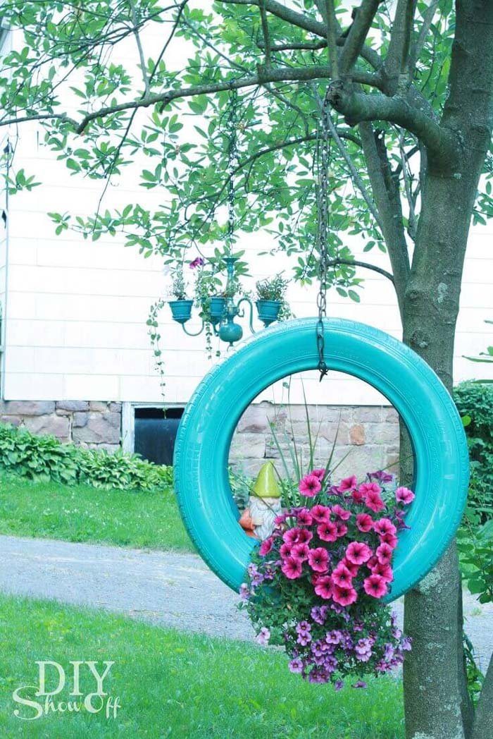 Creative Tire Swing Hanging Planter #diy #planter #flower #hanging #garden #decorhomeideas