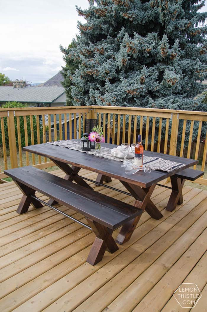 Designer Style DIY Patio Table #diy #furniture #patio #decorhomeideas