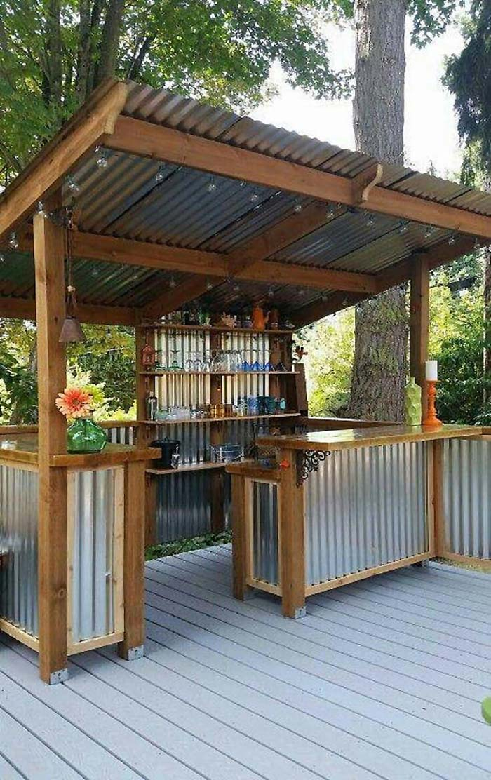 DIY Outdoor Bar With Corrugated Metal #outdoorkitchen #garden #ktichen #decorhomeideas