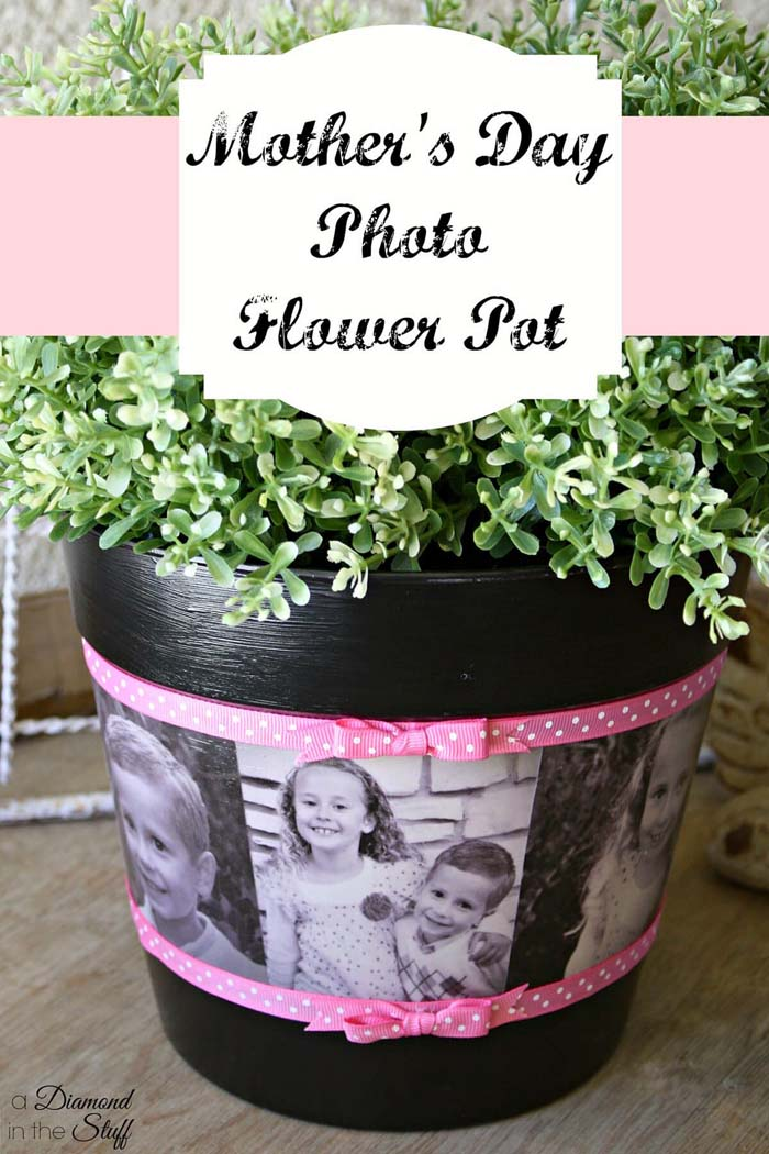 DIY Photo Flower Pot for Mother's Day #diy #flowerpot #garden #flower #decorhomeideas