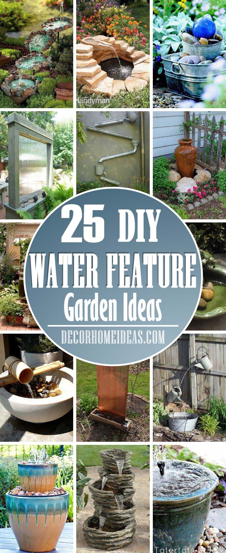 DIY Water Feature Garden Ideas. The garden water features can make your backyard an oasis of serenity and relaxation. #diy #garden #waterfall #waterfeature #decorhomeideas