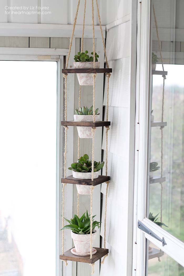 DIY Wood and Twine Hanging Succulent Tower #diy #planter #flower #hanging #garden #decorhomeideas
