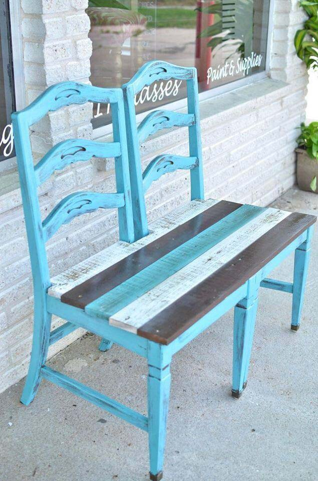 Double Chair Bench for a Porch #chair #diy #repurposed #decorhomeideas