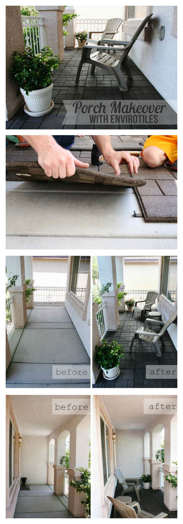 Easy Envirotile Porch Floor Transformation #diy #porch #makeover #decorhomeideas
