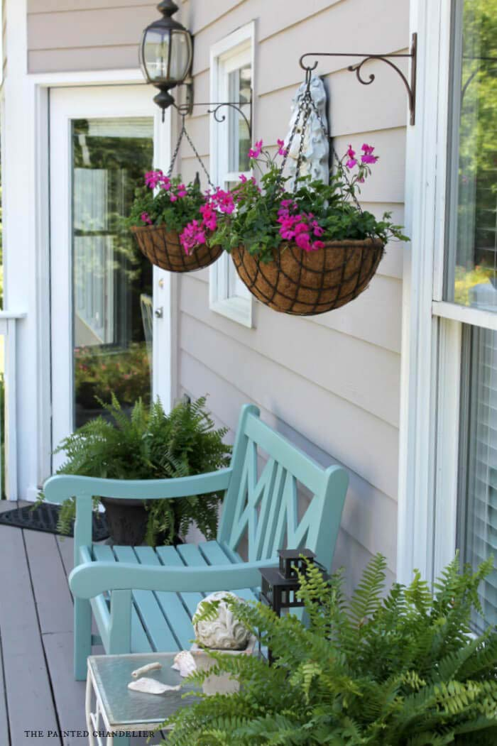Elegant Potted Ferns and Classic Hanging Baskets #porch #summer #decor #decorhomeideas