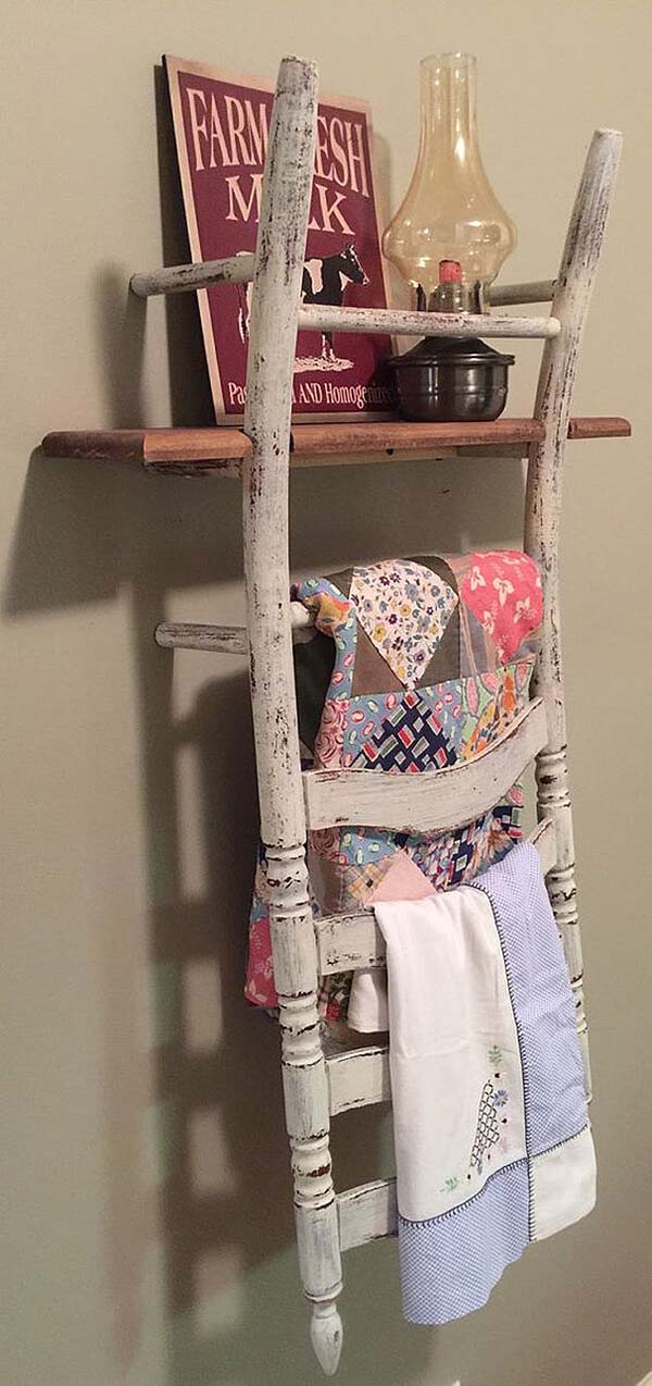Farmhouse Ladder Back Chair Shelf #chair #diy #repurposed #decorhomeideas