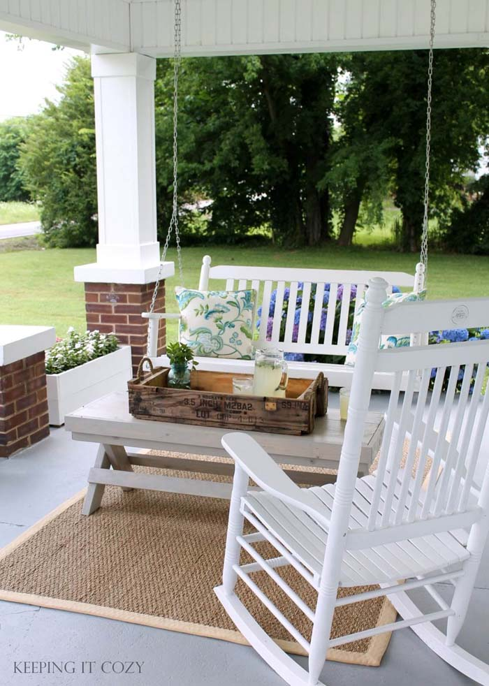 Flower Boxes and Country Furniture #diy #porch #makeover #decorhomeideas