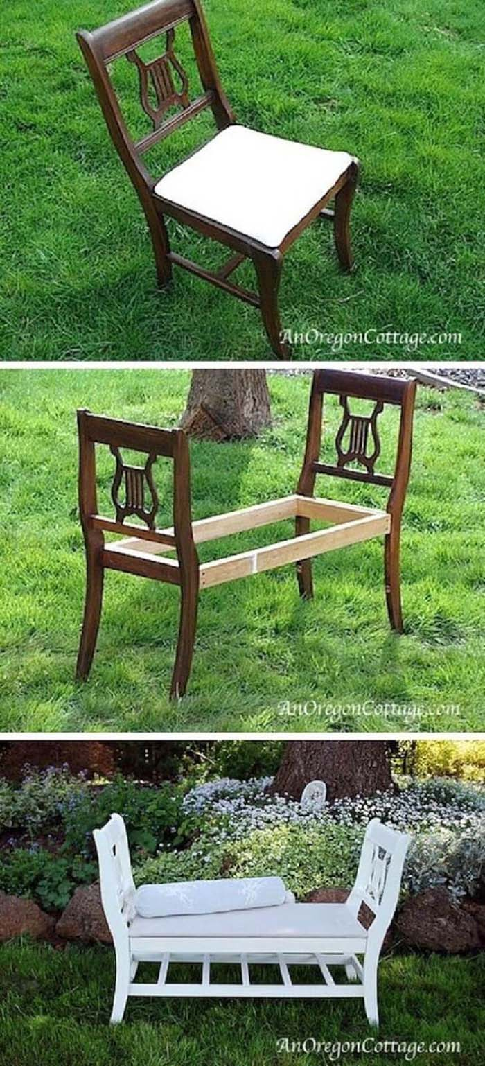 French-Style Bench From Old Chairs #chair #diy #repurposed #decorhomeideas